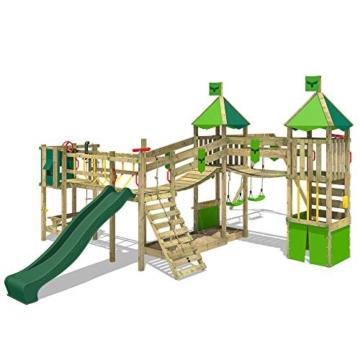 FATMOOSE Spielturm Klettergerüst FunnyFortress Free XXL mit Schaukel & grüner Rutsche, Fettes Garten-Spielgerät mit Sandkasten, Kletterwand & viel Spiel-Zubehör - 1