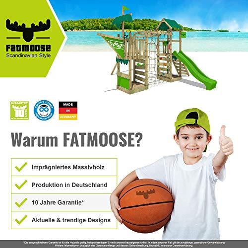 FATMOOSE Spielturm Klettergerüst FunnyFortress Free XXL mit Schaukel & grüner Rutsche, Fettes Garten-Spielgerät mit Sandkasten, Kletterwand & viel Spiel-Zubehör - 7