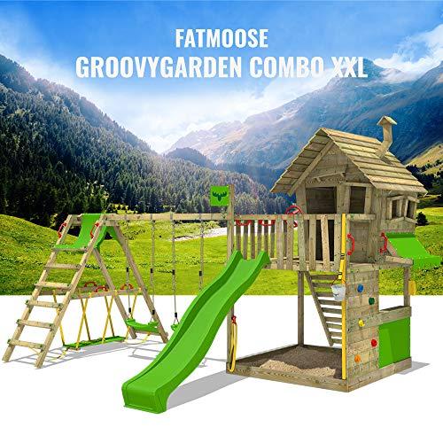 FATMOOSE Spielturm Klettergerüst GroovyGarden mit Schaukel SurfSwing & apfelgrüner Rutsche, Spielhaus mit Sandkasten, Leiter & Spiel-Zubehör - 2