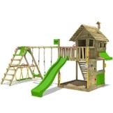 FATMOOSE Spielturm Klettergerüst GroovyGarden mit Schaukel SurfSwing & apfelgrüner Rutsche, Spielhaus mit Sandkasten, Leiter & Spiel-Zubehör - 1