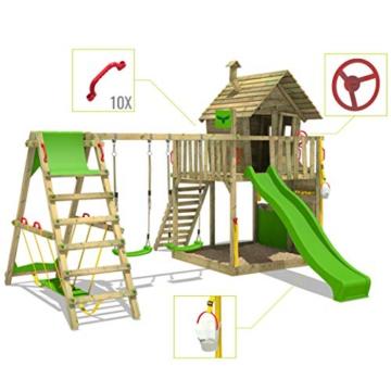 FATMOOSE Spielturm Klettergerüst GroovyGarden mit Schaukel SurfSwing & apfelgrüner Rutsche, Spielhaus mit Sandkasten, Leiter & Spiel-Zubehör - 3