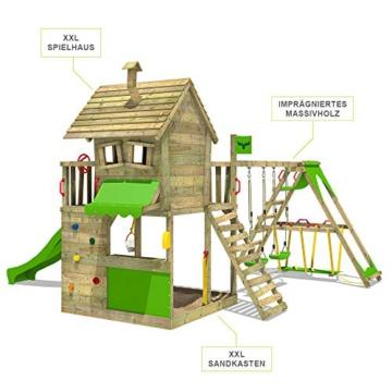 FATMOOSE Spielturm Klettergerüst GroovyGarden mit Schaukel SurfSwing & apfelgrüner Rutsche, Spielhaus mit Sandkasten, Leiter & Spiel-Zubehör - 4