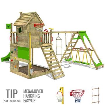 FATMOOSE Spielturm Klettergerüst HappyHome Hot XXL mit Surf-Anbau, Schaukel & apfelgrüner Rutsche, Baumhaus mit großem Sandkasten, Kletterwand & viel Spiel-Zubehör - 2