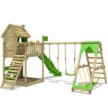 FATMOOSE Spielturm Klettergerüst HappyHome Hot XXL mit Surf-Anbau, Schaukel & apfelgrüner Rutsche, Baumhaus mit großem Sandkasten, Kletterwand & viel Spiel-Zubehör - 3