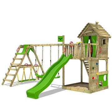 FATMOOSE Spielturm Klettergerüst HappyHome Hot XXL mit Surf-Anbau, Schaukel & apfelgrüner Rutsche, Baumhaus mit großem Sandkasten, Kletterwand & viel Spiel-Zubehör - 1