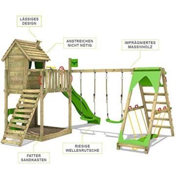 FATMOOSE Spielturm Klettergerüst HappyHome Hot XXL mit Surf-Anbau, Schaukel & apfelgrüner Rutsche, Baumhaus mit großem Sandkasten, Kletterwand & viel Spiel-Zubehör - 7