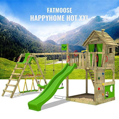 FATMOOSE Spielturm Klettergerüst HappyHome Hot XXL mit Surf-Anbau, Schaukel & apfelgrüner Rutsche, Baumhaus mit großem Sandkasten, Kletterwand & viel Spiel-Zubehör - 8