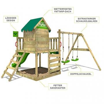 FATMOOSE Spielturm Klettergerüst JazzyJungle mit Schaukel & apfelgrüner Rutsche, Spielhaus mit Sandkasten, Leiter & Spiel-Zubehör - 2