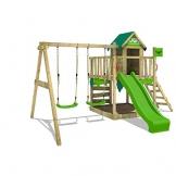 FATMOOSE Spielturm Klettergerüst JazzyJungle mit Schaukel & apfelgrüner Rutsche, Spielhaus mit Sandkasten, Leiter & Spiel-Zubehör - 1