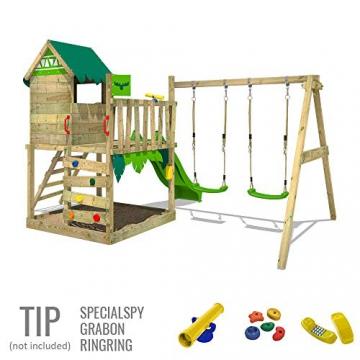 FATMOOSE Spielturm Klettergerüst JazzyJungle mit Schaukel & apfelgrüner Rutsche, Spielhaus mit Sandkasten, Leiter & Spiel-Zubehör - 4