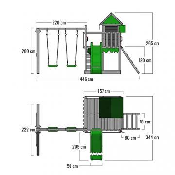 FATMOOSE Spielturm Klettergerüst JazzyJungle mit Schaukel & apfelgrüner Rutsche, Spielhaus mit Sandkasten, Leiter & Spiel-Zubehör - 5