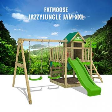 FATMOOSE Spielturm Klettergerüst JazzyJungle mit Schaukel & apfelgrüner Rutsche, Spielhaus mit Sandkasten, Leiter & Spiel-Zubehör - 8