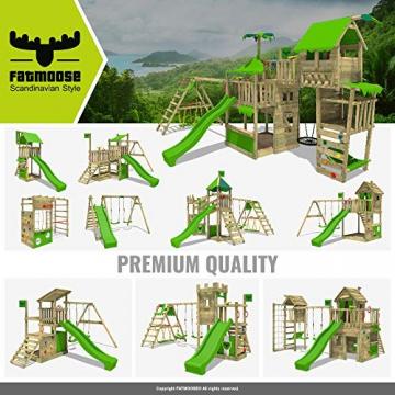 FATMOOSE Spielturm Klettergerüst JazzyJungle mit Schaukel & apfelgrüner Rutsche, Spielhaus mit Sandkasten, Leiter & Spiel-Zubehör - 9