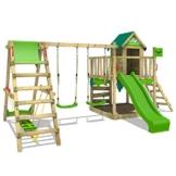 FATMOOSE Spielturm Klettergerüst JazzyJungle mit Schaukel SurfSwing & apfelgrüner Rutsche, Spielhaus mit Sandkasten, Leiter & Spiel-Zubehör - 1