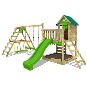FATMOOSE Spielturm Klettergerüst JazzyJungle mit Schaukel SurfSwing & apfelgrüner Rutsche, Spielhaus mit Sandkasten, Leiter & Spiel-Zubehör - 3