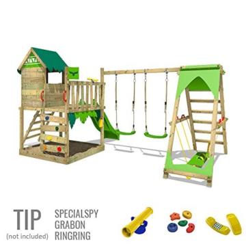 FATMOOSE Spielturm Klettergerüst JazzyJungle mit Schaukel SurfSwing & apfelgrüner Rutsche, Spielhaus mit Sandkasten, Leiter & Spiel-Zubehör - 4