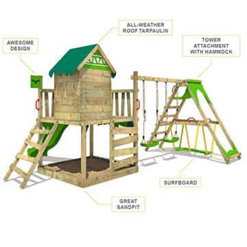 FATMOOSE Spielturm Klettergerüst JazzyJungle mit Schaukel SurfSwing & apfelgrüner Rutsche, Spielhaus mit Sandkasten, Leiter & Spiel-Zubehör - 5