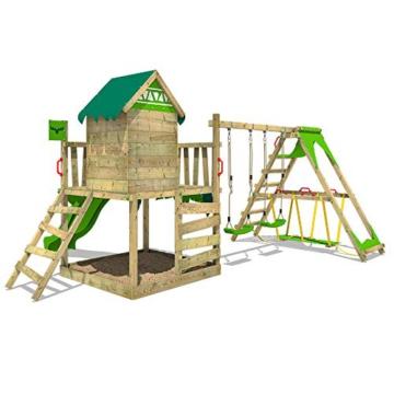 FATMOOSE Spielturm Klettergerüst JazzyJungle mit Schaukel SurfSwing & apfelgrüner Rutsche, Spielhaus mit Sandkasten, Leiter & Spiel-Zubehör - 6