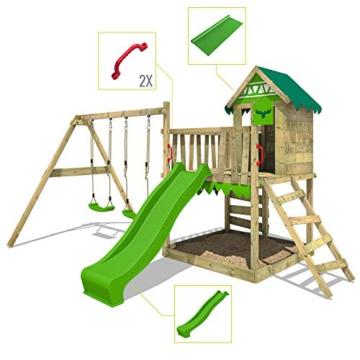 FATMOOSE Spielturm Klettergerüst JazzyJungle mit Schaukel SurfSwing & apfelgrüner Rutsche, Spielhaus mit Sandkasten, Leiter & Spiel-Zubehör - 7