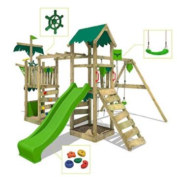 FATMOOSE Spielturm Klettergerüst WaterWorld mit Schaukel & apfelgrüner Rutsche, Spielhaus mit Sandkasten, Leiter & Spiel-Zubehör - 2