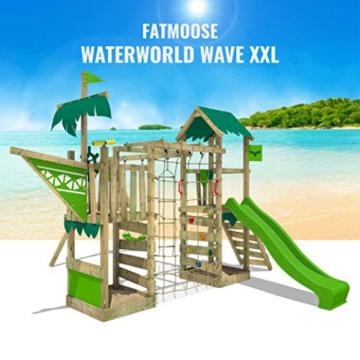 FATMOOSE Spielturm Klettergerüst WaterWorld mit Schaukel & apfelgrüner Rutsche, Spielhaus mit Sandkasten, Leiter & Spiel-Zubehör - 3