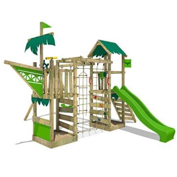 FATMOOSE Spielturm Klettergerüst WaterWorld mit Schaukel & apfelgrüner Rutsche, Spielhaus mit Sandkasten, Leiter & Spiel-Zubehör - 1