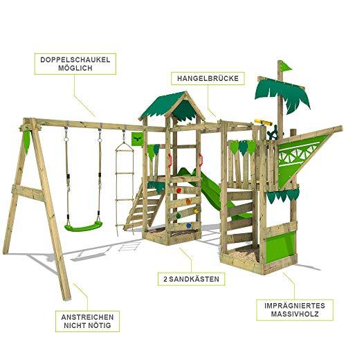FATMOOSE Spielturm Klettergerüst WaterWorld mit Schaukel & apfelgrüner Rutsche, Spielhaus mit Sandkasten, Leiter & Spiel-Zubehör - 5