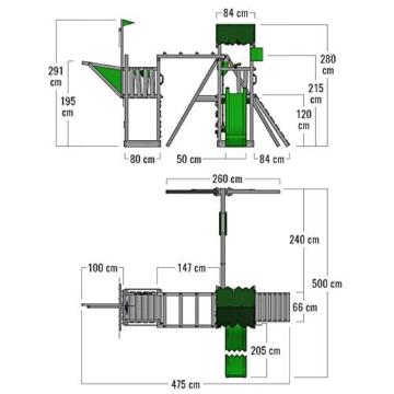 FATMOOSE Spielturm Klettergerüst WaterWorld mit Schaukel & apfelgrüner Rutsche, Spielhaus mit Sandkasten, Leiter & Spiel-Zubehör - 6