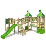 FATMOOSE Spielturm Kletterturm FunnyFortress Free XXL Ritterburg mit apfelgrüner Rutsche, Doppelschaukel, Surfanbau und Sandkasten - 1