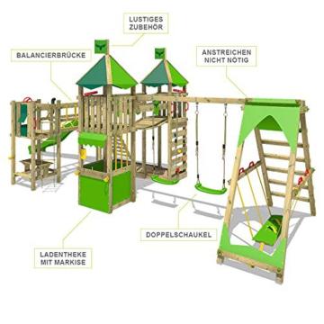 FATMOOSE Spielturm Kletterturm FunnyFortress Free XXL Ritterburg mit apfelgrüner Rutsche, Doppelschaukel, Surfanbau und Sandkasten - 3