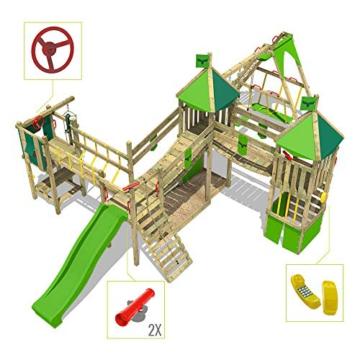 FATMOOSE Spielturm Kletterturm FunnyFortress Free XXL Ritterburg mit apfelgrüner Rutsche, Doppelschaukel, Surfanbau und Sandkasten - 5