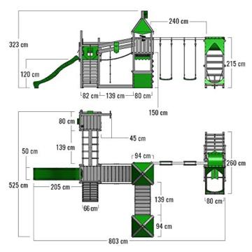 FATMOOSE Spielturm Kletterturm FunnyFortress Free XXL Ritterburg mit apfelgrüner Rutsche, Doppelschaukel, Surfanbau und Sandkasten - 7