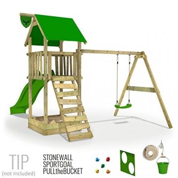 FATMOOSE Spielturm MagicMonkey Ultra XXL Kletterturm Baumhaus mit Schaukel und apfelgrüner Rutsche - 2