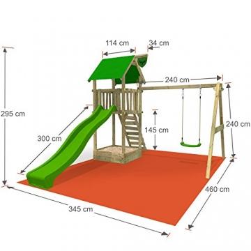 FATMOOSE Spielturm MagicMonkey Ultra XXL Kletterturm Baumhaus mit Schaukel und apfelgrüner Rutsche - 3