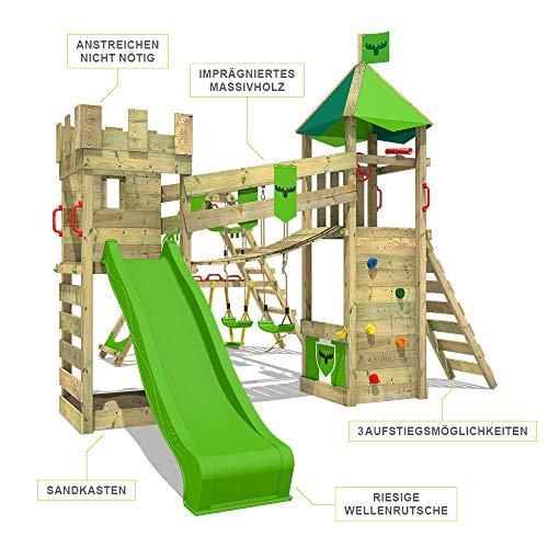 FATMOOSE Spielturm Ritterburg RiverRun mit Schaukel SurfSwing & apfelgrüner Rutsche, Spielhaus mit Sandkasten, Leiter & Spiel-Zubehör - 2
