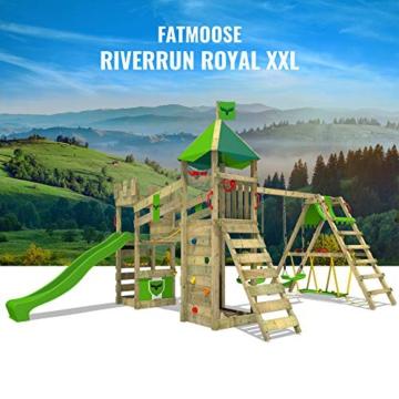 FATMOOSE Spielturm Ritterburg RiverRun mit Schaukel SurfSwing & apfelgrüner Rutsche, Spielhaus mit Sandkasten, Leiter & Spiel-Zubehör - 4