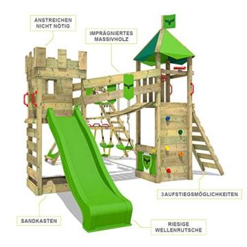 FATMOOSE Spielturm Ritterburg RiverRun mit Schaukel SurfSwing & grüner Rutsche, Spielhaus mit Sandkasten, Leiter & Spiel-Zubehör - 5