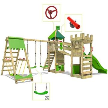 FATMOOSE Spielturm Ritterburg RiverRun mit Schaukel SurfSwing & grüner Rutsche, Spielhaus mit Sandkasten, Leiter & Spiel-Zubehör - 6
