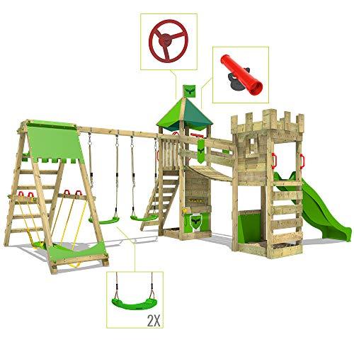 FATMOOSE Spielturm Ritterburg RiverRun mit Schaukel SurfSwing & roter Rutsche, Spielhaus mit Sandkasten, Leiter & Spiel-Zubehör - 4