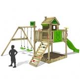 FATMOOSE Spielturm RockyRanch Roll XXL Stelzenhaus Spielhaus mit Doppelschaukel, Rutsche und großem Sandkasten - 1