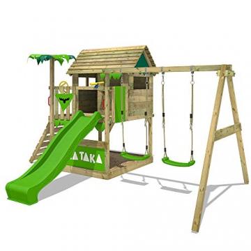 FATMOOSE Spielturm TikaTaka Town XXL Kletterturm mit Doppelschaukel, Rutsche und viel Spiel-Zubehör, apfelgrüne Rutsche - 2