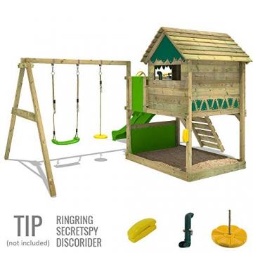 FATMOOSE Spielturm TikaTaka Town XXL Kletterturm mit Doppelschaukel, Rutsche und viel Spiel-Zubehör, apfelgrüne Rutsche - 3