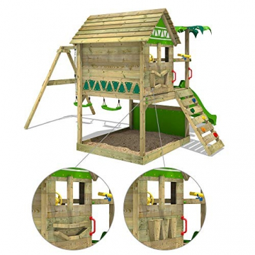 FATMOOSE Spielturm TikaTaka Town XXL Kletterturm mit Doppelschaukel, Rutsche und viel Spiel-Zubehör, apfelgrüne Rutsche - 4