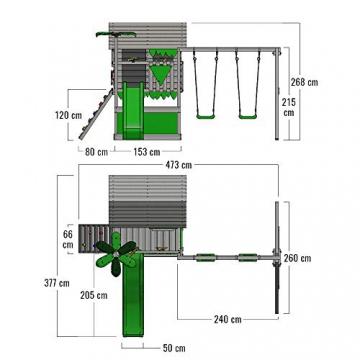 FATMOOSE Spielturm TikaTaka Town XXL Kletterturm mit Doppelschaukel, Rutsche und viel Spiel-Zubehör, apfelgrüne Rutsche - 6