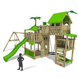 FATMOOSE Spielturm TropicTemple Tall XXL Kletterturm Baumhaus Spielplatz auf 5 Ebenen, Nestschaukel, Rutsche, Schaukel, Sandkasten, Kletterleiter und Hängematte -