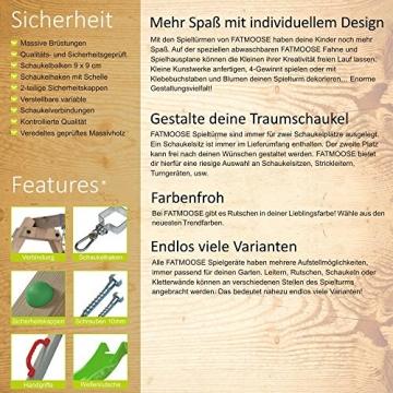 FATMOOSE Stelzenhaus FunFactory Fit XXL Spielturm Baumhaus Spielhaus mit Doppelschaukel und apfelgrüner Rutsche -
