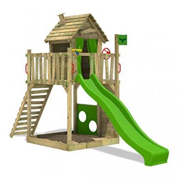FATMOOSE Stelzenhaus HappyHome Hot XXL Spielturm Kletterturm Spielhaus auf Podest mit Holzdach, Kletterwand, Sandkasten, Torwand und Rutsche - 2