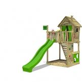 FATMOOSE Stelzenhaus HappyHome Hot XXL Spielturm Kletterturm Spielhaus auf Podest mit Holzdach, Kletterwand, Sandkasten, Torwand und Rutsche - 1