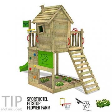FATMOOSE Stelzenhaus HappyHome Hot XXL Spielturm Kletterturm Spielhaus auf Podest mit Holzdach, Kletterwand, Sandkasten, Torwand und Rutsche - 3
