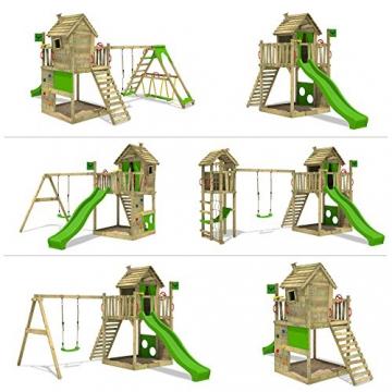 FATMOOSE Stelzenhaus HappyHome Hot XXL Spielturm Kletterturm Spielhaus auf Podest mit Holzdach, Kletterwand, Sandkasten, Torwand und Rutsche - 4